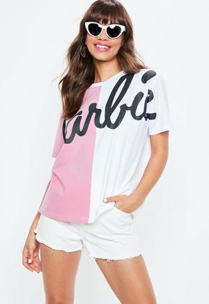 barbie-x-missguided-pink-spliced-t-shirt